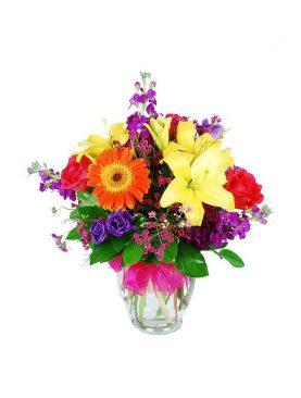 Bouquet Mixto en Jarrón de Cristal
