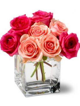 Bouquet Pequeño de Rosas Rojas y Peach