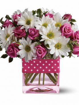 Bouquet Rosas y Gerberas en Base de Cristal