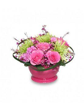 Bouquet Mixto en Cesta de Cerámica