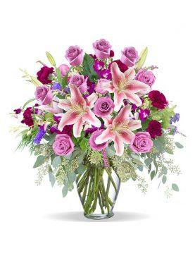 Bouquet de Flores Grande en Jarrón de Cristal