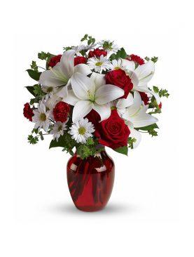 Bouquet Mediano Flores Blancas y Rojas