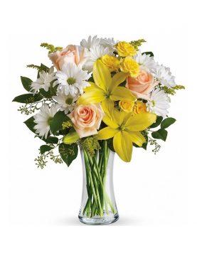 Bouquet Flores Mixtas en Jarrón de Cristal