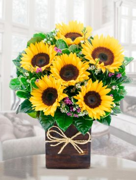 Bouquet Mediano Girasoles Base Madera